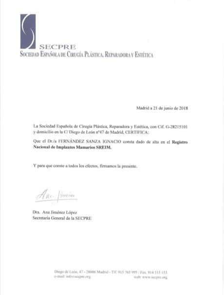 Certificat SECPRE